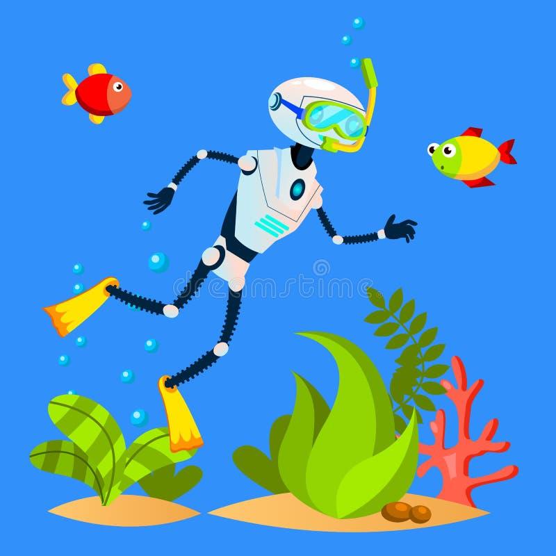 Roboter-touristische Schwimmen unter Fischen mit tauchendem Masken-Vektor Getrennte Abbildung lizenzfreie abbildung