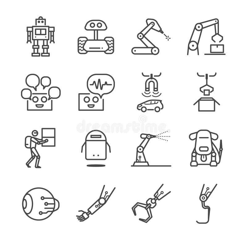 Roboter- und Fabrikmaschinenikonen eingestellt stock abbildung