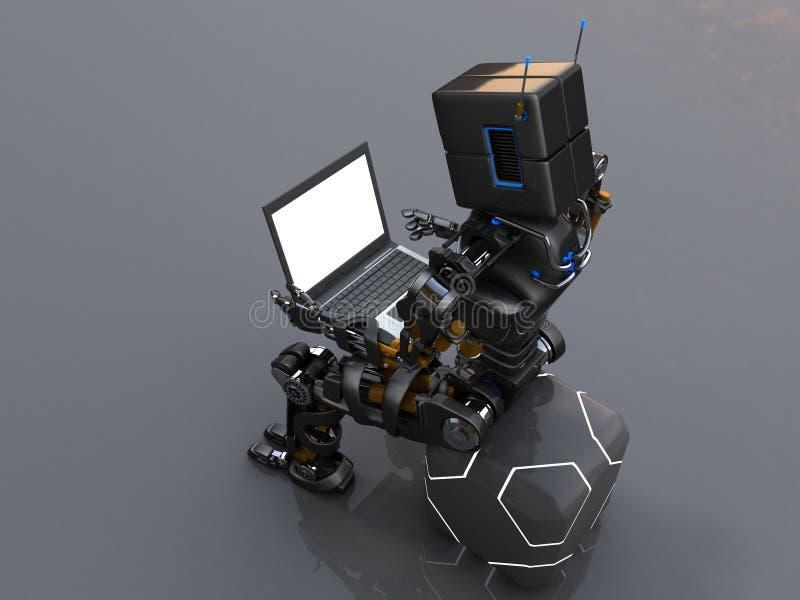 Roboter und Laptop vektor abbildung