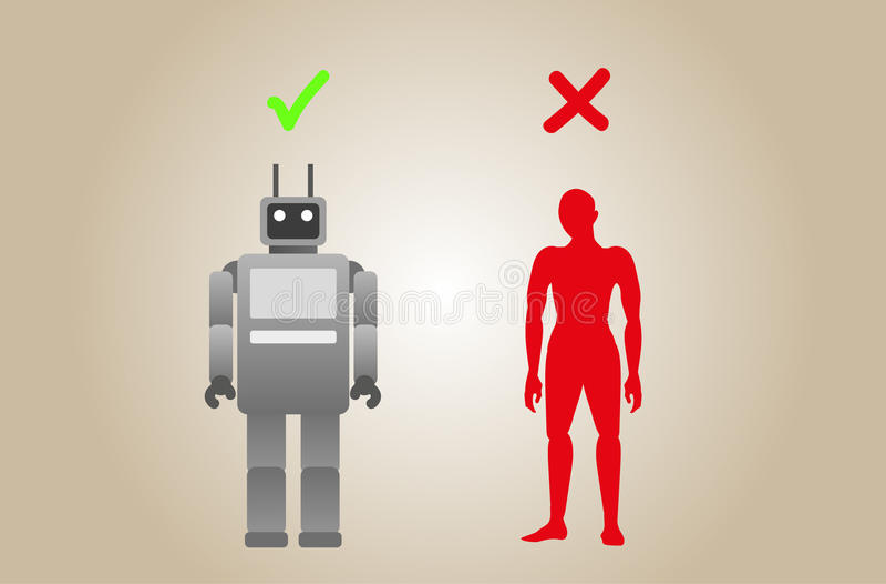 Roboter und Mensch lizenzfreie stockfotos