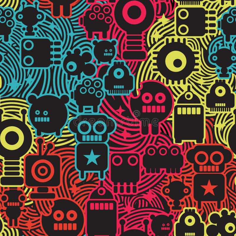 Roboter und Monster kühlen nahtloses Muster ab. lizenzfreie abbildung