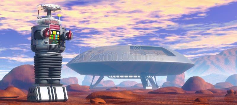 Roboter und Raumschiff vektor abbildung