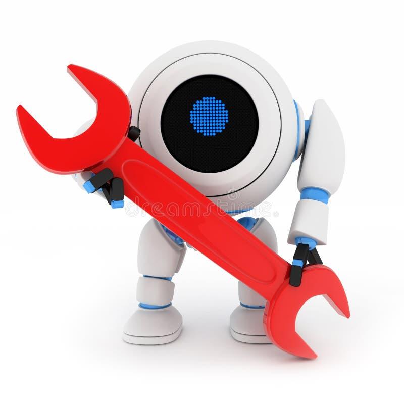 Roboter und rote Taste vektor abbildung