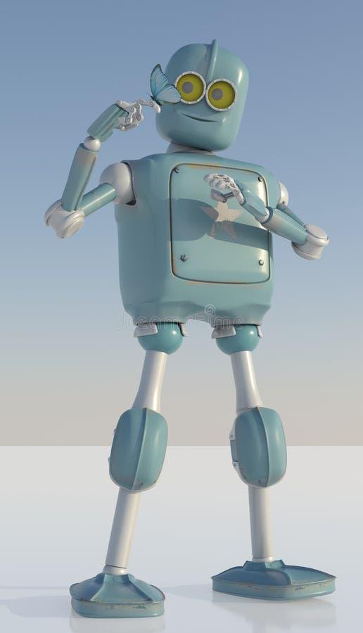 Roboter und Schmetterling an Hand ein blauer Hintergrund Retro- Spielzeug und national lizenzfreie abbildung