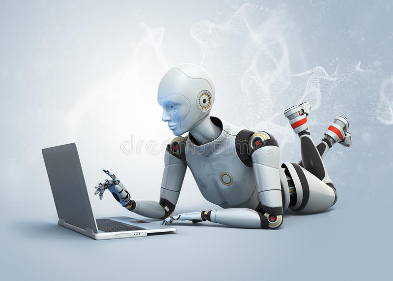 Roboter unter Verwendung des Laptops vektor abbildung