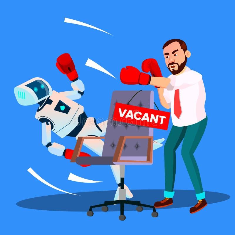 Roboter-Verpacken mit Geschäftsmann For Vacant Place bei der Arbeit, Stunden-Konzept-Vektor Getrennte Abbildung vektor abbildung