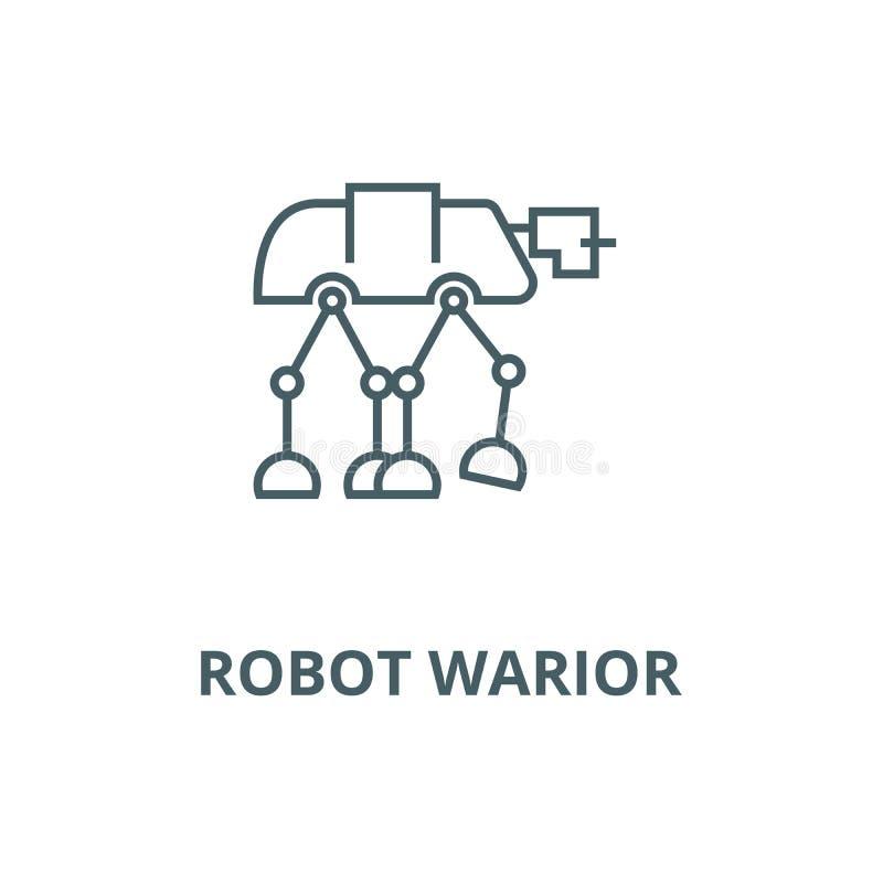 Roboter warior, gepanzerte Transportvektorlinie Ikone, lineares Konzept, Entwurfszeichen, Symbol stock abbildung