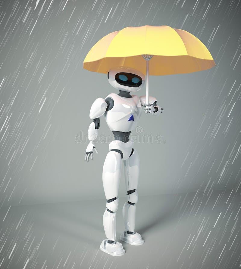 Roboter weiblich mit Regenschirm, 3d übertragen stock abbildung