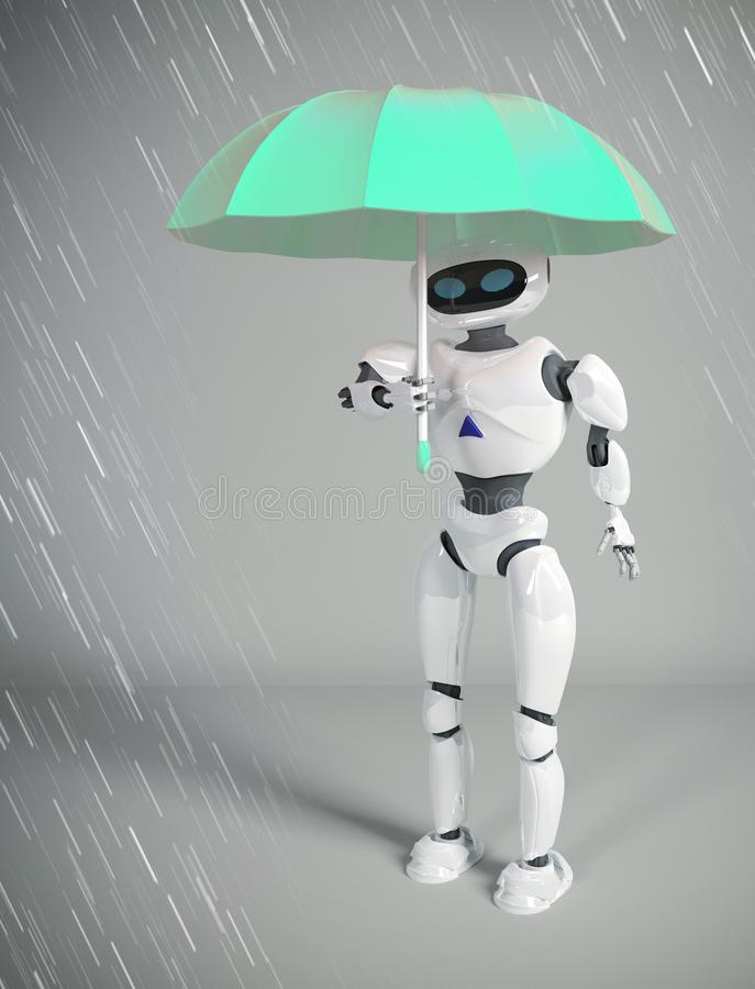 Roboter weiblich mit Regenschirm, 3d übertragen vektor abbildung
