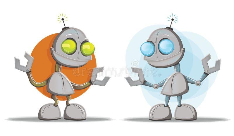 Roboter-Zeichentrickfilm-Figur-Maskottchen stock abbildung