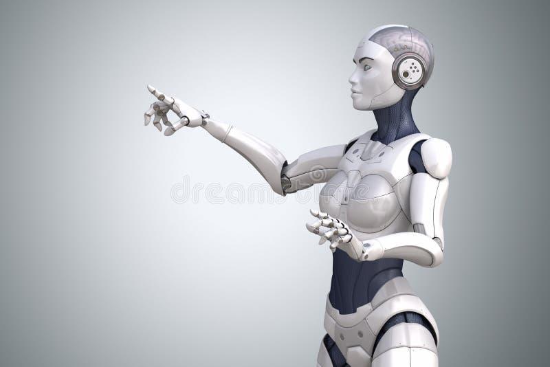 Roboter zeigt seinen Finger oben vektor abbildung