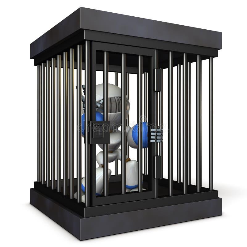Roboter zurückgehalten durch Gefängnis Er ist schreiende falsche Gebühren stock abbildung