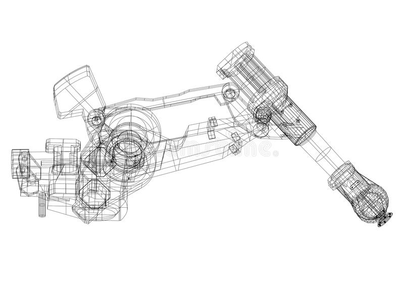 Roboterarm Architektenplan - lokalisiert stock abbildung