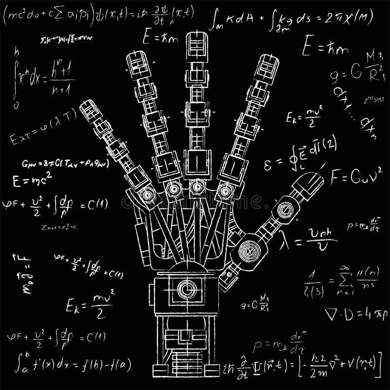 Roboterarm Diese Vektorillustration wird als Illustration von Robotikideen, die künstliche Intelligenz benutzt, bionisch lizenzfreie stockfotografie