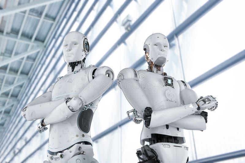 Roboterarm gekreuzt stock abbildung