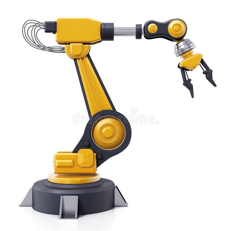Roboterarm lokalisiert auf weißem Hintergrund Abbildung 3D vektor abbildung