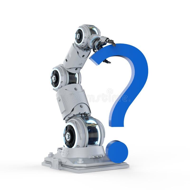 Roboterarm mit Fragezeichen stock abbildung