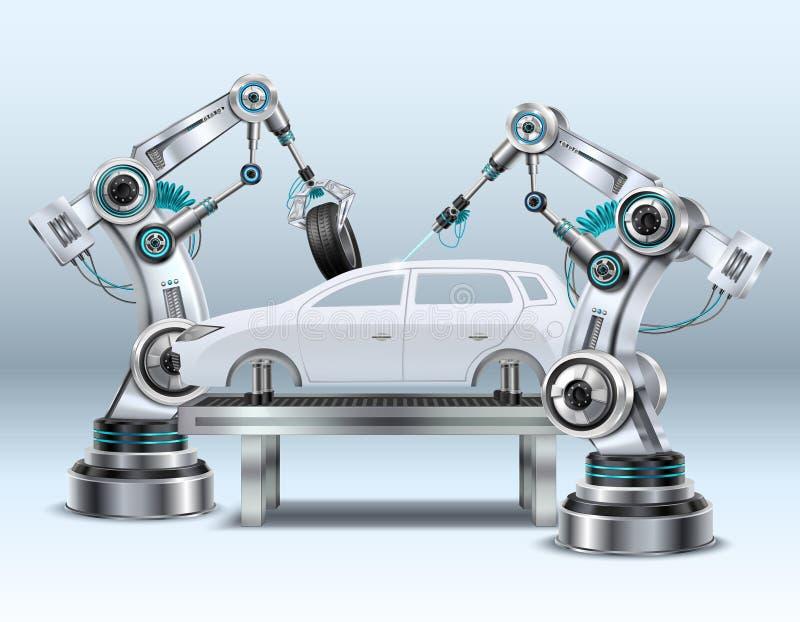 Roboterarm-realistische Zusammensetzung lizenzfreie abbildung