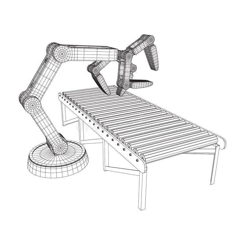 Roboterarm- und Rollenbahnvektor lizenzfreie abbildung