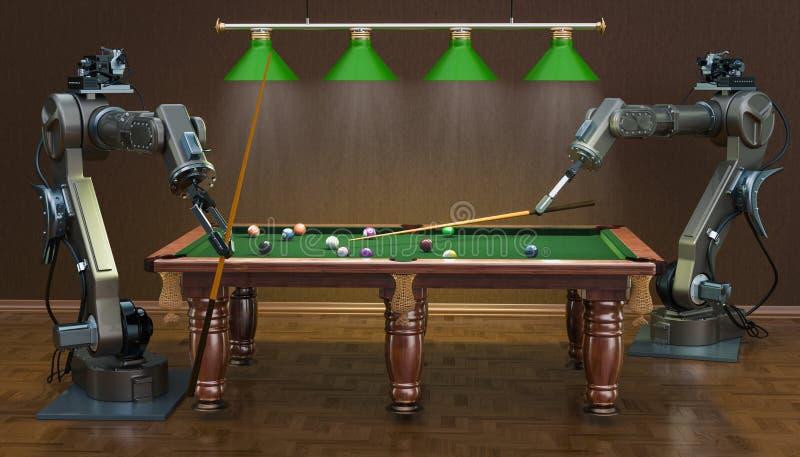 Roboterarme spielen Billard, Wiedergabe 3D lizenzfreie abbildung
