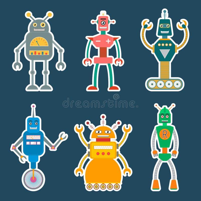 Roboteraufkleber oder -ikonen eingestellt stock abbildung