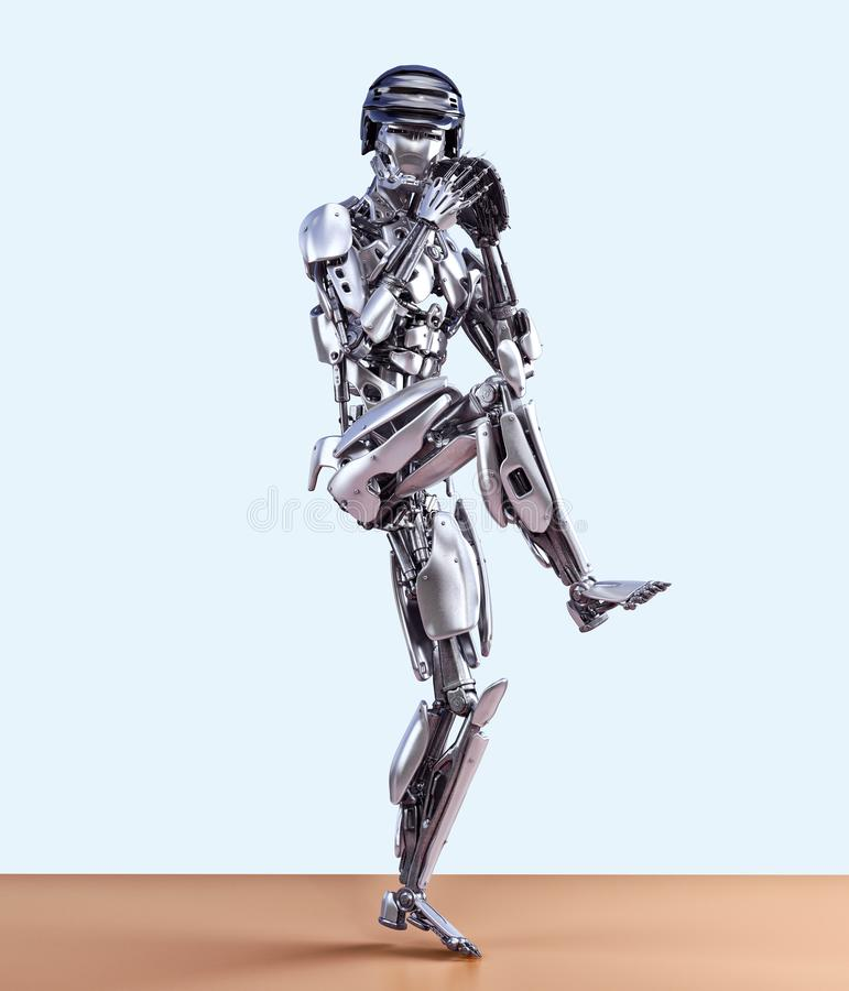 Roboterbaseball-spieler in der Aktion, lokalisiert Technologiekonzept der künstlichen Intelligenz des Cyborgroboters Abbildung 3D lizenzfreie abbildung
