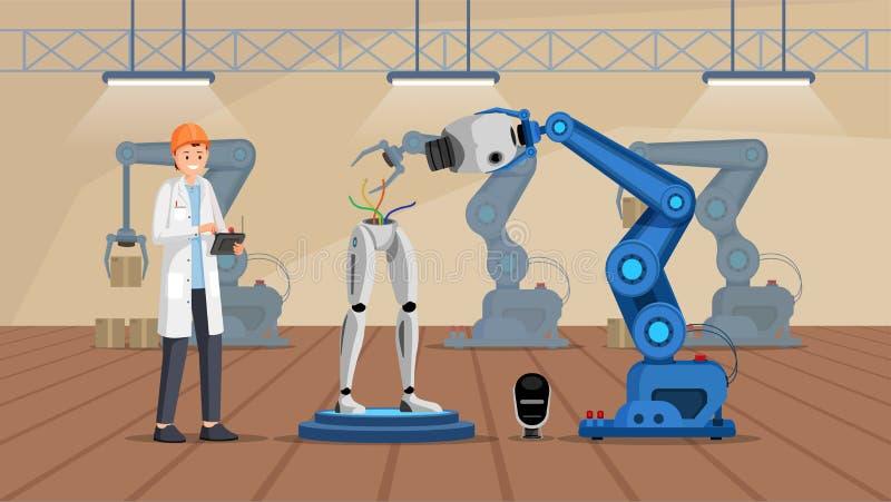 Roboterbaubetriebsflache Vektorillustration Lächelnder Wissenschaftler in weißem Mantelgebäude droid Charakter cyborg stock abbildung