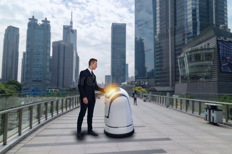 Roboterberater, Geschäftsmanngespräch mit einem Hightechroboterassistenten AI oder künstliche Intelligenz, wie man ihm während er lizenzfreies stockbild