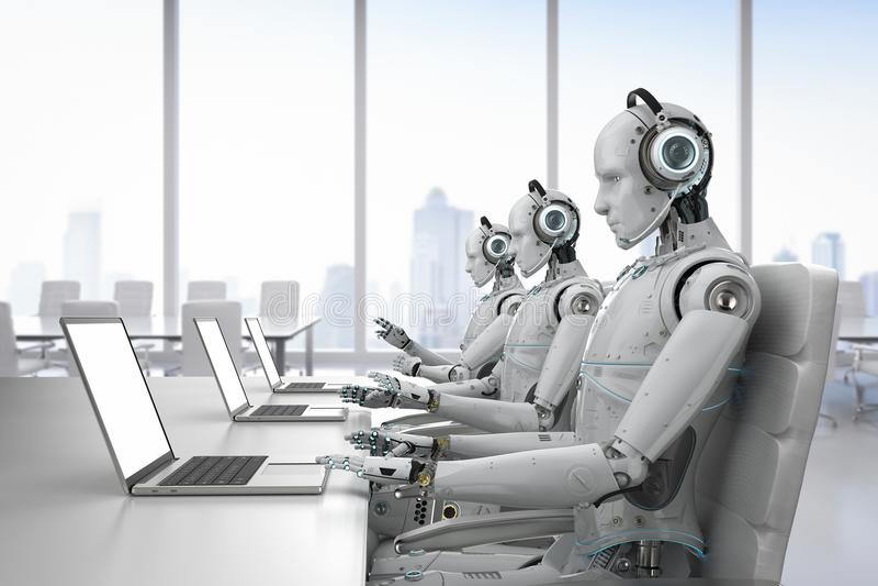 Robotercall-center lizenzfreie abbildung