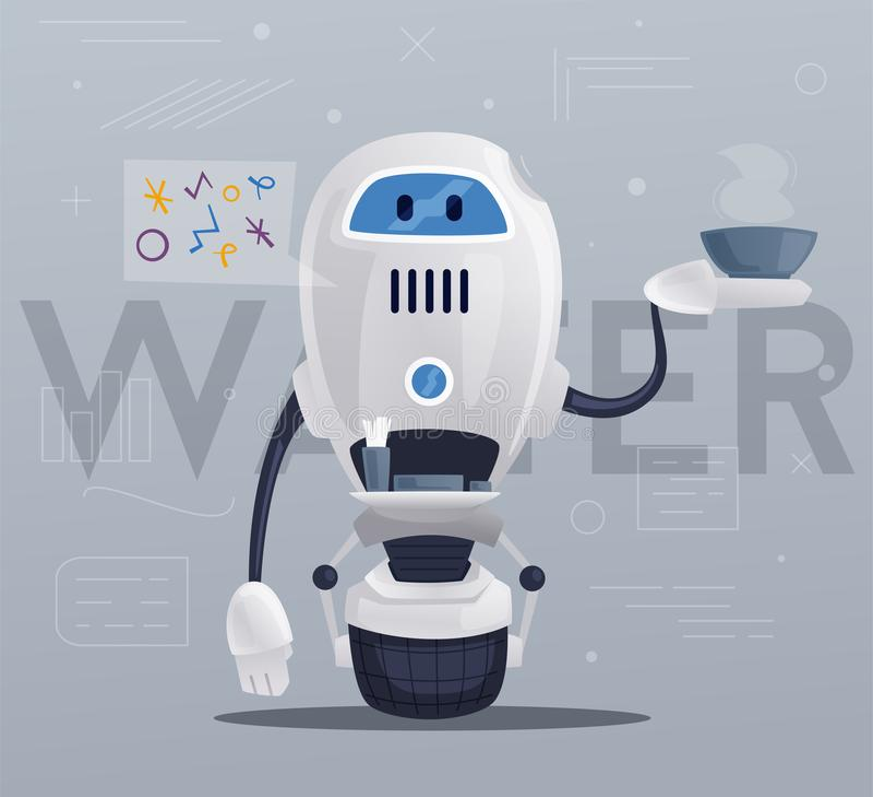 Robotercharakter Technologie, Zukunft Katze entweicht auf ein Dach vom Ausländer vektor abbildung