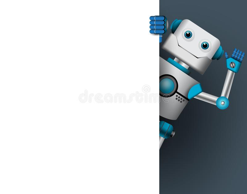 Robotercharakter-Vektorillustration Robotermaskottchen, das leeres weißes Brett hält stock abbildung