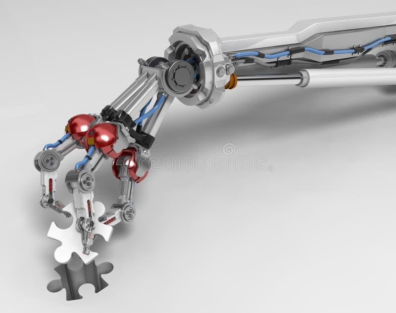 Roboterfinger des arm-drei, Puzzlespiel-Stückchen vektor abbildung