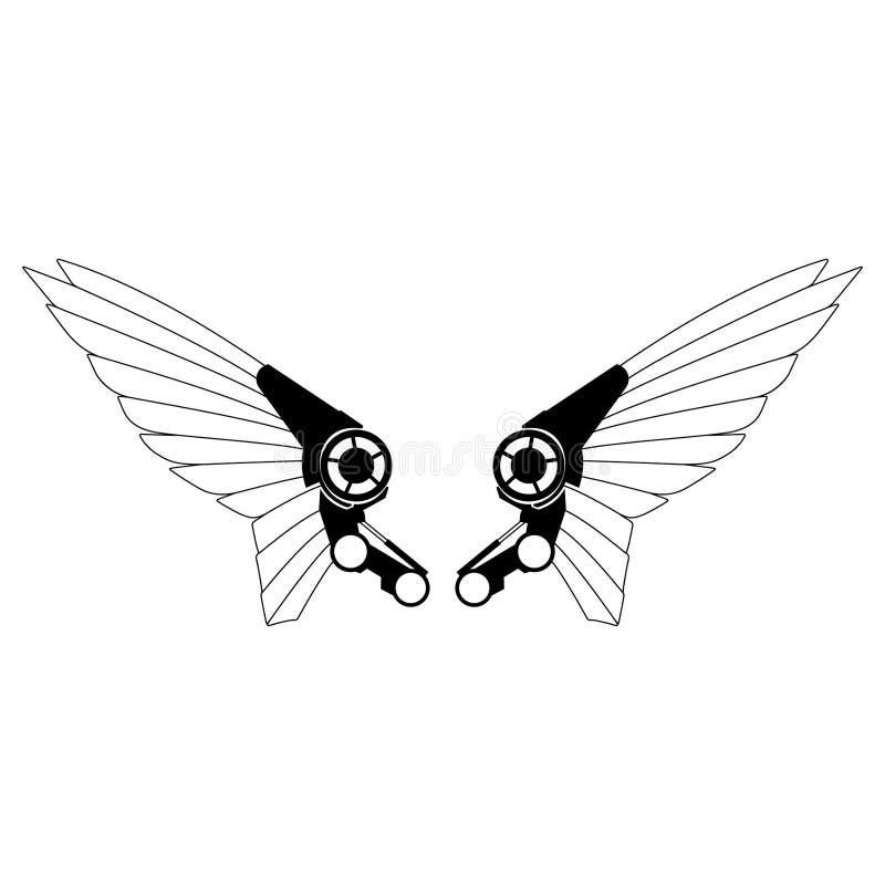 Roboterflügel-Vektor ENV Hand gezeichnet, Vektor, ENV, Logo, Ikone, crafteroks, Schattenbild Illustration für unterschiedlichen G lizenzfreie abbildung