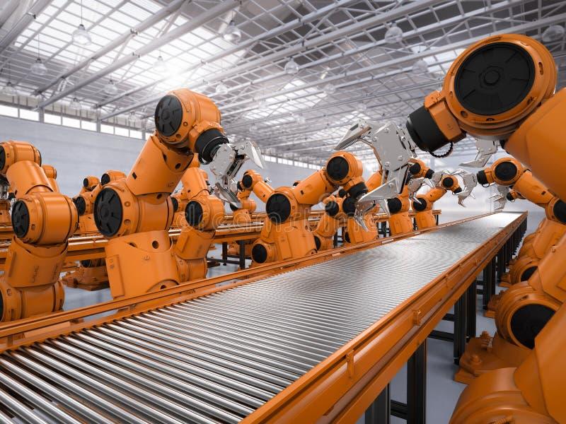 RoboterFließband lizenzfreie abbildung