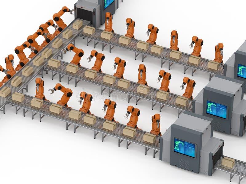 RoboterFließband vektor abbildung