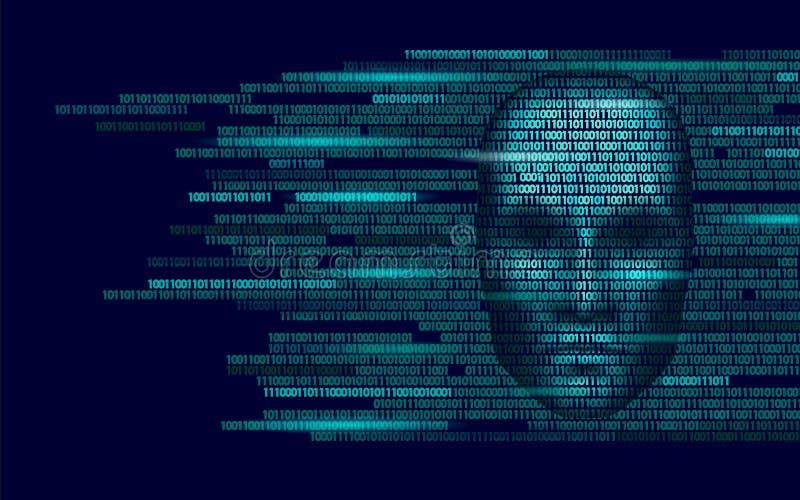 Robotergefahrendunkelheitsgesicht der künstlichen Intelligenz des Hackers Cyborgbinär code-Kopfschattenon-line-Kerben-Alarmperson vektor abbildung