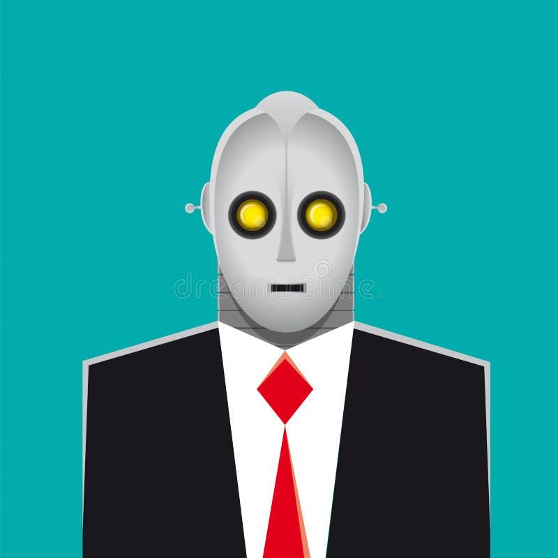 Robotergeschäftsmannklage und -krawatte vektor abbildung