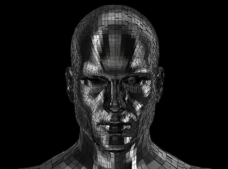 Robotergesicht, das auf Kamera vorder schaut stockfotos