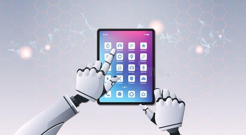 Roboterhände unter Verwendung digitalen futuristischen Technologie der künstlichen Intelligenz der Tablet-Computer-Anwendungsder  vektor abbildung