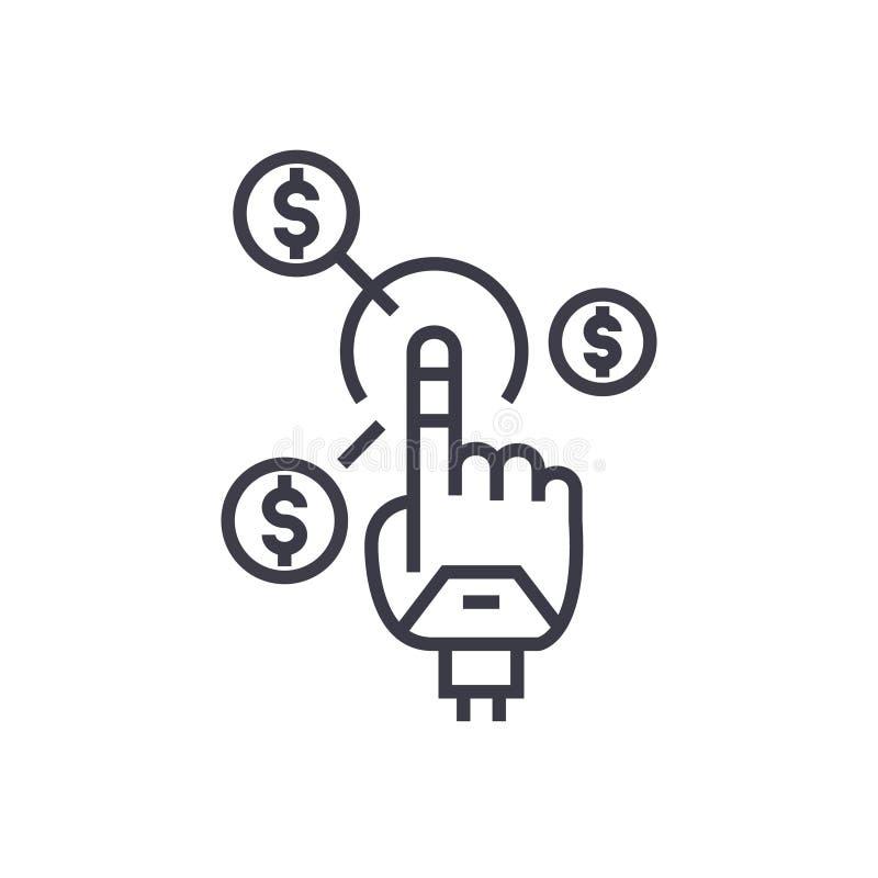 Roboterhand, dünne Linie Ikone, Symbol, Zeichen, Illustration des zukünftigen Finanzkonzept-Vektors auf lokalisiertem Hintergrund lizenzfreie abbildung