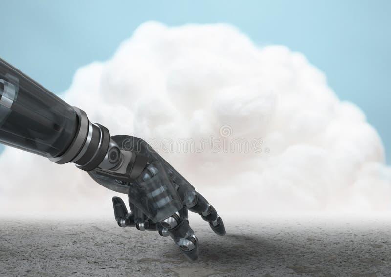 Roboterhand, die auf Boden mit Wolke im Hintergrund zeigt stock abbildung