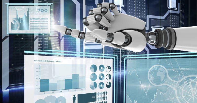 Roboterhand, die auf Technologieschnittstellenplatten einwirkt vektor abbildung