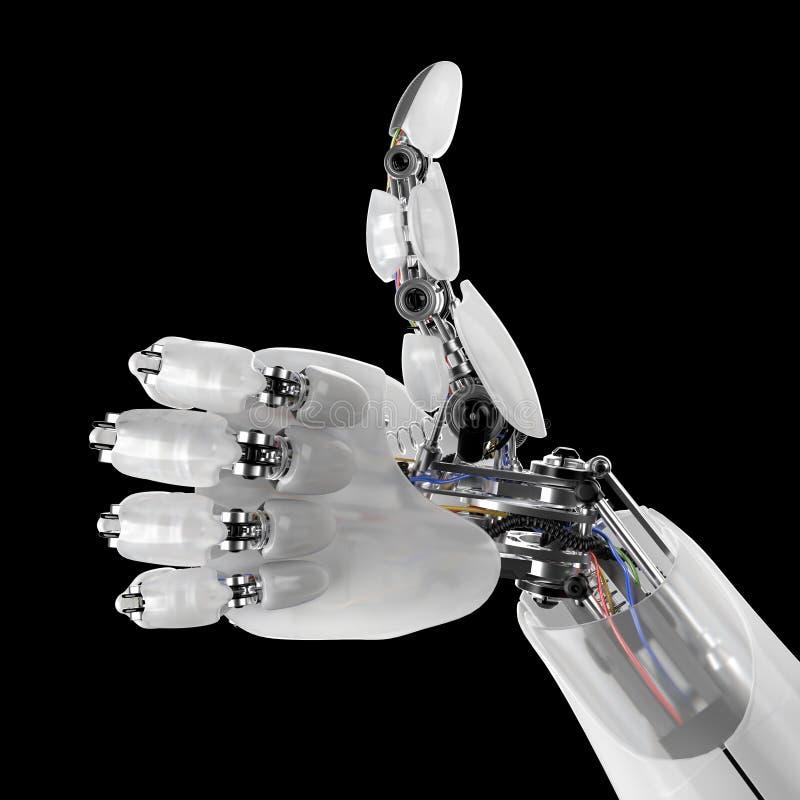 Roboterhand, die Daumen oben auf einem schwarzen Hintergrund gibt 3d übertragen mit einem workpath vektor abbildung