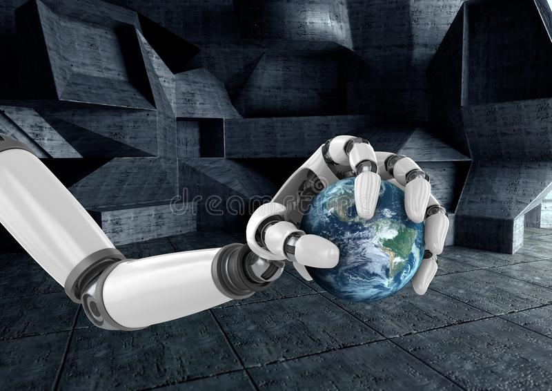 Roboterhand, die Kugel hält vektor abbildung