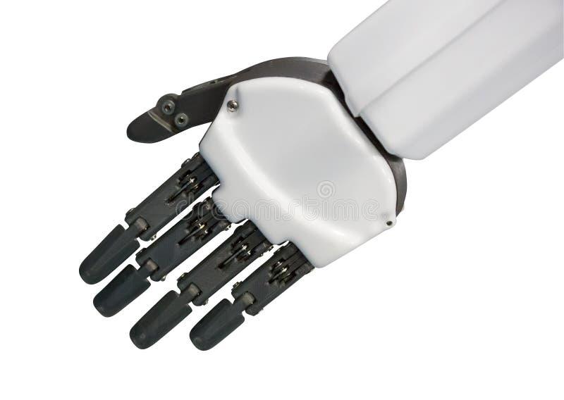 Roboterhand lokalisiert auf Weiß stockfoto