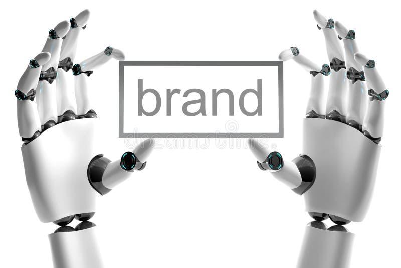 Roboterhand mit Markenplatz stock abbildung
