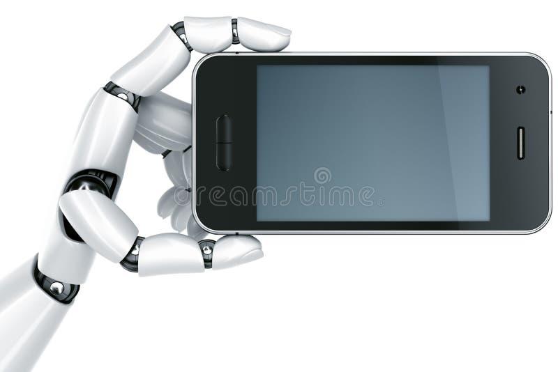 Roboterhand mit Smartphone lizenzfreie abbildung