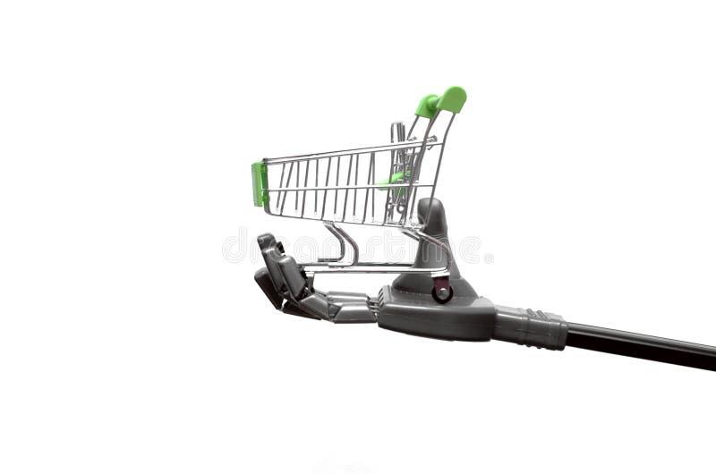 Roboterhand mit Warenkorb stockbilder