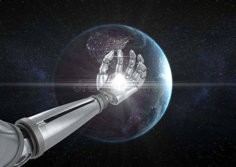 Roboterhand mit weißem Licht vor Kugel lizenzfreie abbildung