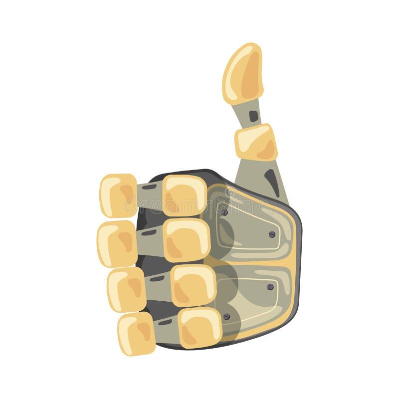 Roboterhand und -schmetterling Mechanisches Technologiemaschinen-Techniksymbol Handgesten O.K. Kühles Zeichen Gutes Zeichen Fried stock abbildung